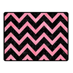 Chevron9 Black Marble & Pink Watercolor (r) Double Sided Fleece Blanket (small)  by trendistuff