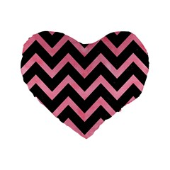 Chevron9 Black Marble & Pink Watercolor (r) Standard 16  Premium Flano Heart Shape Cushions by trendistuff