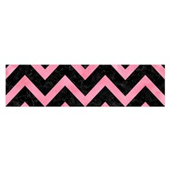 Chevron9 Black Marble & Pink Watercolor (r) Satin Scarf (oblong) by trendistuff