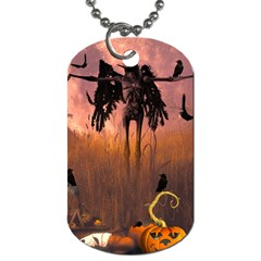 Halloween Design With Scarecrow, Crow And Pumpkin Dog Tag (two Sides) by FantasyWorld7