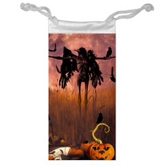 Halloween Design With Scarecrow, Crow And Pumpkin Jewelry Bag by FantasyWorld7