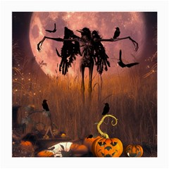Halloween Design With Scarecrow, Crow And Pumpkin Medium Glasses Cloth (2 Side) by FantasyWorld7