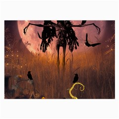 Halloween Design With Scarecrow, Crow And Pumpkin Large Glasses Cloth (2 Side) by FantasyWorld7