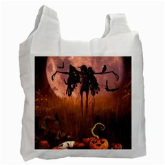Halloween Design With Scarecrow, Crow And Pumpkin Recycle Bag (two Side)  by FantasyWorld7