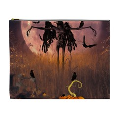 Halloween Design With Scarecrow, Crow And Pumpkin Cosmetic Bag (xl) by FantasyWorld7