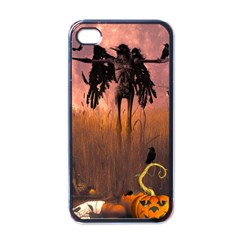Halloween Design With Scarecrow, Crow And Pumpkin Apple Iphone 4 Case (black) by FantasyWorld7