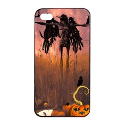 Halloween Design With Scarecrow, Crow And Pumpkin Apple Iphone 4/4s Seamless Case (black) by FantasyWorld7