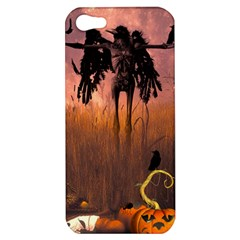 Halloween Design With Scarecrow, Crow And Pumpkin Apple Iphone 5 Hardshell Case by FantasyWorld7