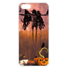 Halloween Design With Scarecrow, Crow And Pumpkin Apple Iphone 5 Seamless Case (white) by FantasyWorld7