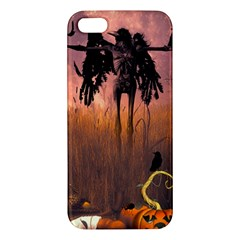 Halloween Design With Scarecrow, Crow And Pumpkin Apple Iphone 5 Premium Hardshell Case by FantasyWorld7