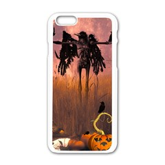 Halloween Design With Scarecrow, Crow And Pumpkin Apple Iphone 6/6s White Enamel Case by FantasyWorld7