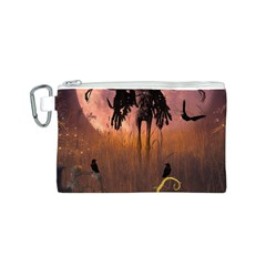 Halloween Design With Scarecrow, Crow And Pumpkin Canvas Cosmetic Bag (s) by FantasyWorld7