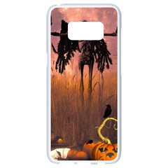 Halloween Design With Scarecrow, Crow And Pumpkin Samsung Galaxy S8 White Seamless Case by FantasyWorld7