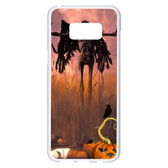 Halloween Design With Scarecrow, Crow And Pumpkin Samsung Galaxy S8 Plus White Seamless Case by FantasyWorld7