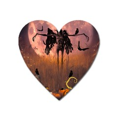 Halloween Design With Scarecrow, Crow And Pumpkin Heart Magnet by FantasyWorld7