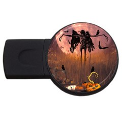 Halloween Design With Scarecrow, Crow And Pumpkin Usb Flash Drive Round (2 Gb) by FantasyWorld7
