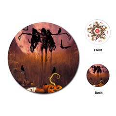 Halloween Design With Scarecrow, Crow And Pumpkin Playing Cards (round)  by FantasyWorld7