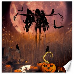 Halloween Design With Scarecrow, Crow And Pumpkin Canvas 16  X 16   by FantasyWorld7