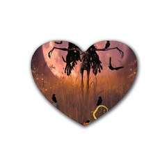 Halloween Design With Scarecrow, Crow And Pumpkin Rubber Coaster (heart)  by FantasyWorld7