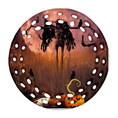 Halloween Design With Scarecrow, Crow And Pumpkin Ornament (round Filigree) by FantasyWorld7