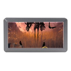 Halloween Design With Scarecrow, Crow And Pumpkin Memory Card Reader (mini) by FantasyWorld7