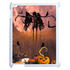 Halloween Design With Scarecrow, Crow And Pumpkin Apple Ipad 2 Case (white) by FantasyWorld7