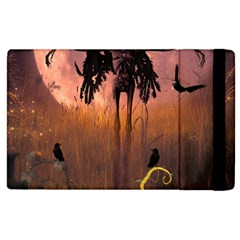 Halloween Design With Scarecrow, Crow And Pumpkin Apple Ipad 3/4 Flip Case by FantasyWorld7