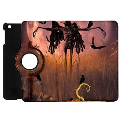 Halloween Design With Scarecrow, Crow And Pumpkin Apple Ipad Mini Flip 360 Case by FantasyWorld7