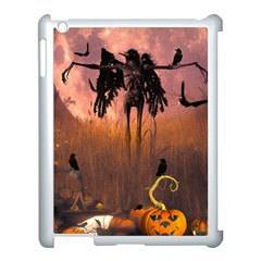 Halloween Design With Scarecrow, Crow And Pumpkin Apple Ipad 3/4 Case (white) by FantasyWorld7