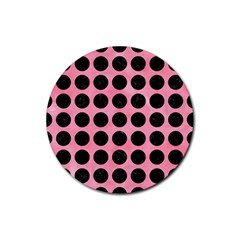 Circles1 Black Marble & Pink Watercolor Rubber Round Coaster (4 Pack)  by trendistuff