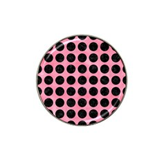 Circles1 Black Marble & Pink Watercolor Hat Clip Ball Marker