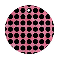 Circles1 Black Marble & Pink Watercolor Round Ornament (two Sides) by trendistuff