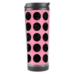 Circles1 Black Marble & Pink Watercolor Travel Tumbler by trendistuff