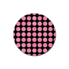 Circles1 Black Marble & Pink Watercolor (r) Rubber Round Coaster (4 Pack)  by trendistuff