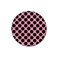 Circles2 Black Marble & Pink Watercolor Magnet 3  (round) by trendistuff