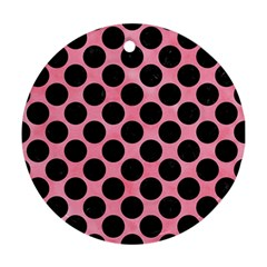 Circles2 Black Marble & Pink Watercolor Round Ornament (two Sides) by trendistuff
