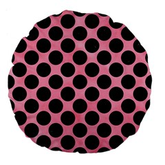 Circles2 Black Marble & Pink Watercolor Large 18  Premium Flano Round Cushions by trendistuff