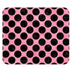 Circles2 Black Marble & Pink Watercolor Double Sided Flano Blanket (small)  by trendistuff