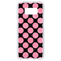 Circles2 Black Marble & Pink Watercolor (r) Samsung Galaxy S8 White Seamless Case by trendistuff