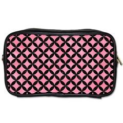 Circles3 Black Marble & Pink Watercolor Toiletries Bags 2 Side by trendistuff