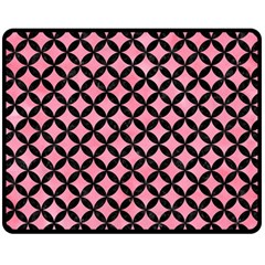 Circles3 Black Marble & Pink Watercolor Double Sided Fleece Blanket (medium)  by trendistuff