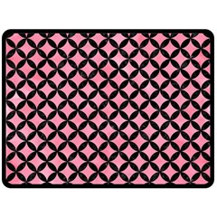 Circles3 Black Marble & Pink Watercolor Double Sided Fleece Blanket (large)  by trendistuff