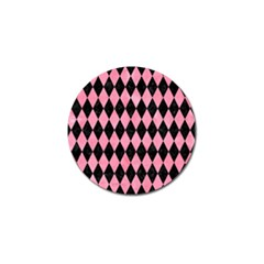 Diamond1 Black Marble & Pink Watercolor Golf Ball Marker by trendistuff