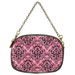 Damask1 Black Marble & Pink Watercolor Chain Purses (one Side)  by trendistuff