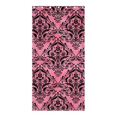 Damask1 Black Marble & Pink Watercolor Shower Curtain 36  X 72  (stall)  by trendistuff