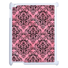 Damask1 Black Marble & Pink Watercolor Apple Ipad 2 Case (white) by trendistuff