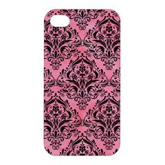 Damask1 Black Marble & Pink Watercolor Apple Iphone 4/4s Hardshell Case by trendistuff