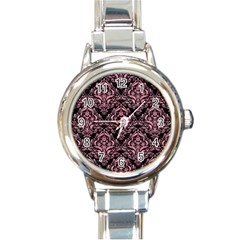 Damask1 Black Marble & Pink Watercolor (r) Round Italian Charm Watch by trendistuff