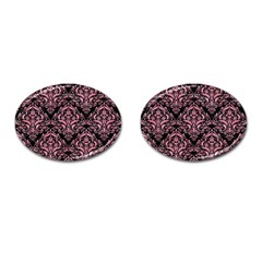 Damask1 Black Marble & Pink Watercolor (r) Cufflinks (oval) by trendistuff
