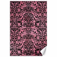 Damask2 Black Marble & Pink Watercolor Canvas 24  X 36  by trendistuff